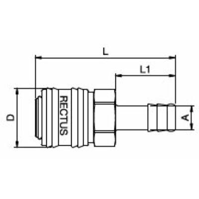 Rectus Csatlakozás  Tömlővég 6 mm