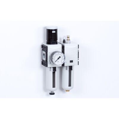 Levegő-előkészítő egység - 8 bar - 5 mikron + Manométer (FS-2)