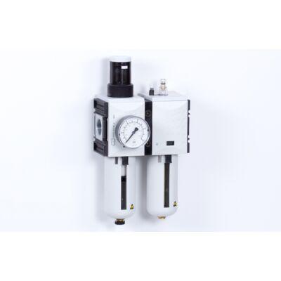 Levegő-előkészítő egység - 8 bar - 5 mikron + Manométer (FS-4)